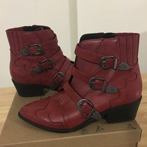 Red Faux Leather Western Ankle Boots 9.5